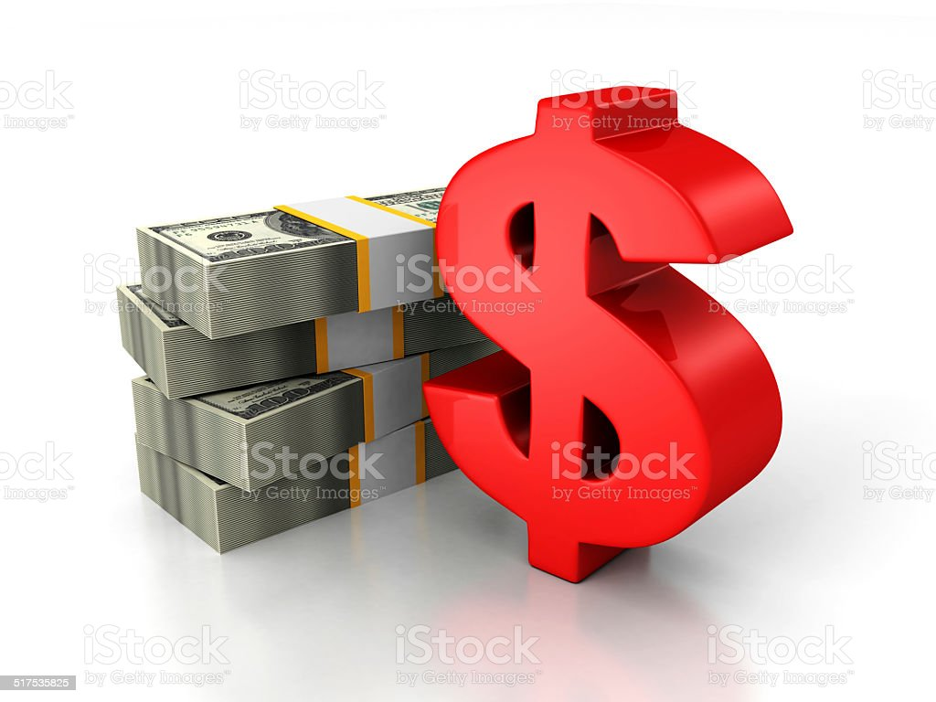red dollar sign and bundle of money paper currency stock photo