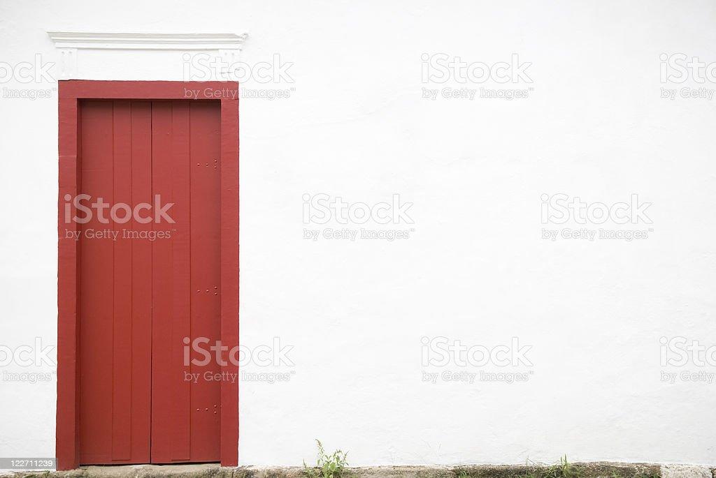 Red door, copy space stock photo