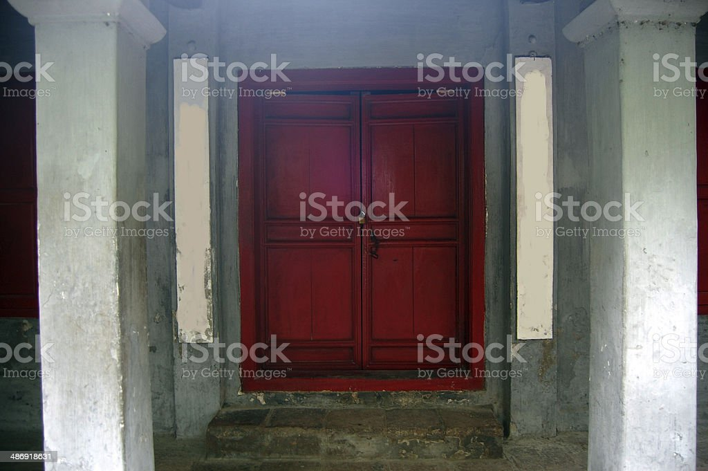 Red door in Ngoc Son Temple at Hanoi Vietnam stock photo