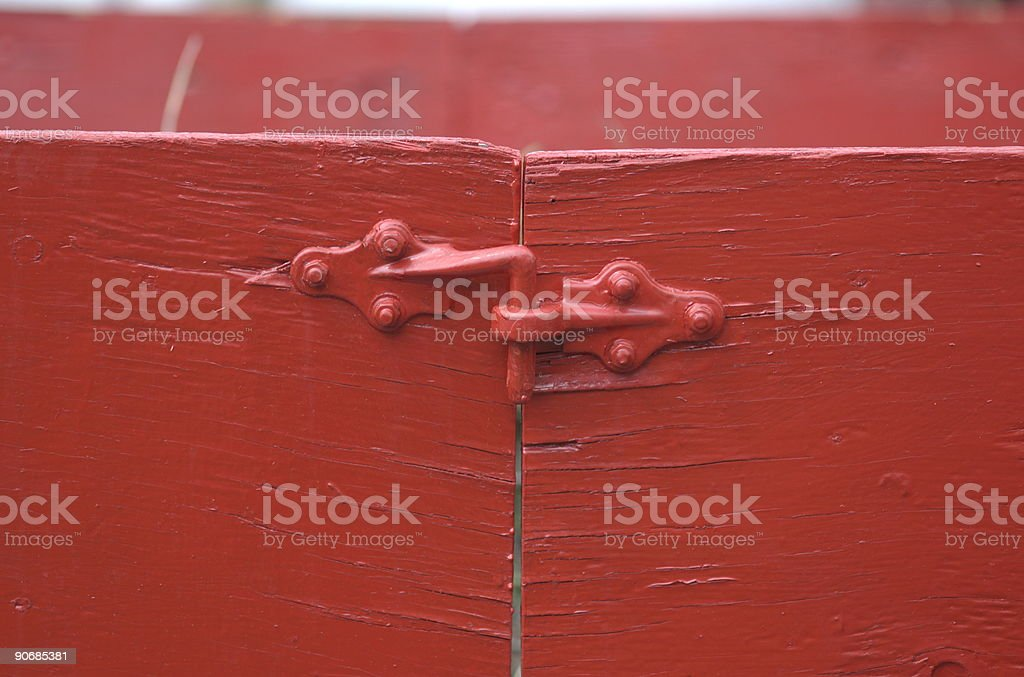 red door latch royalty-free stock photo