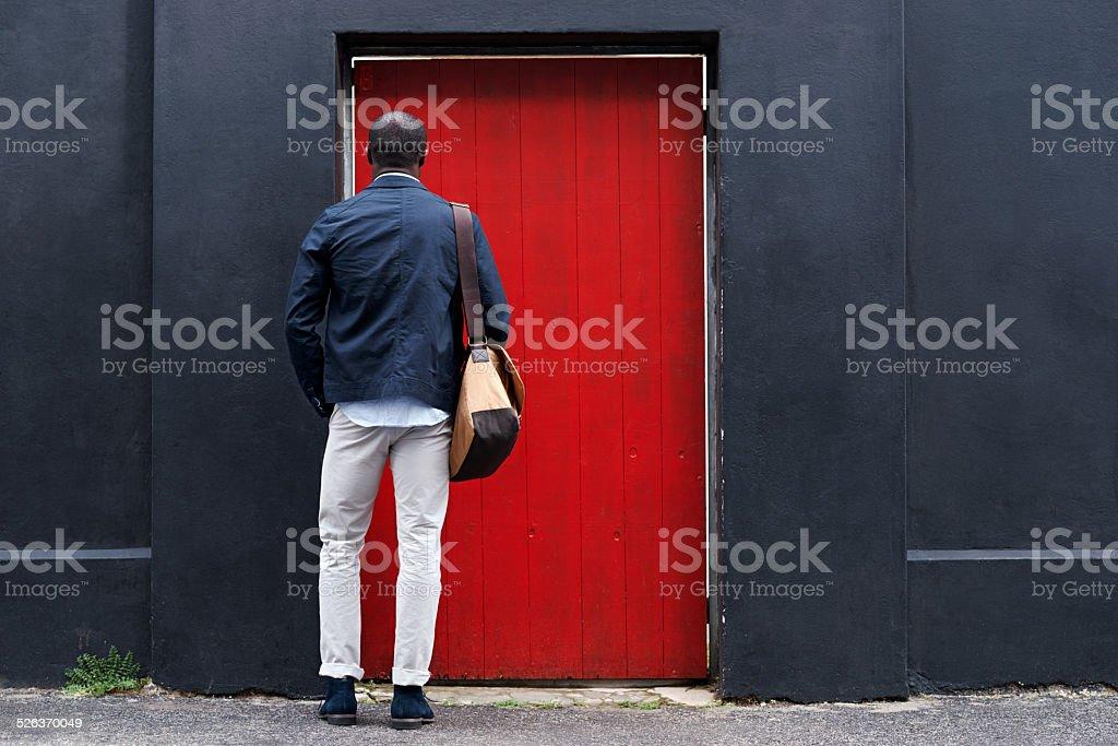 red door man stock photo