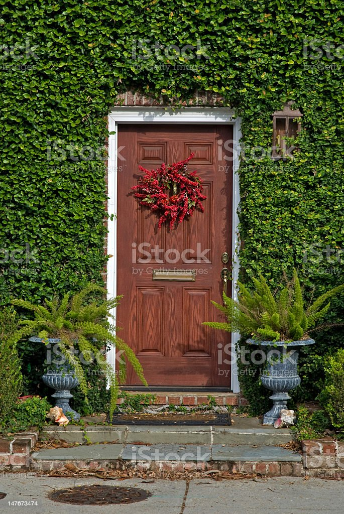 Red Door Surrounded by Ivy royalty-free stock photo