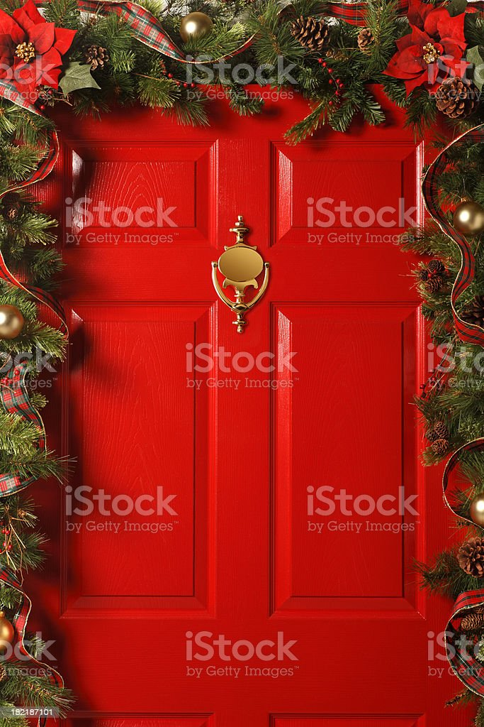 Red Door With Garland royalty-free stock photo