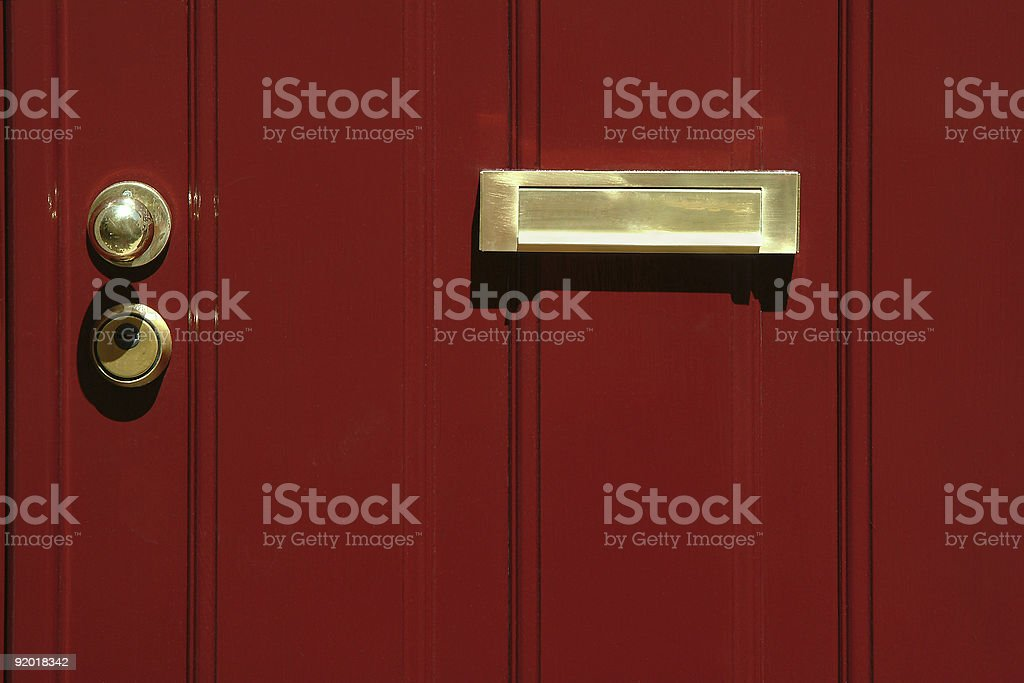 Red door with mailbox royalty-free stock photo