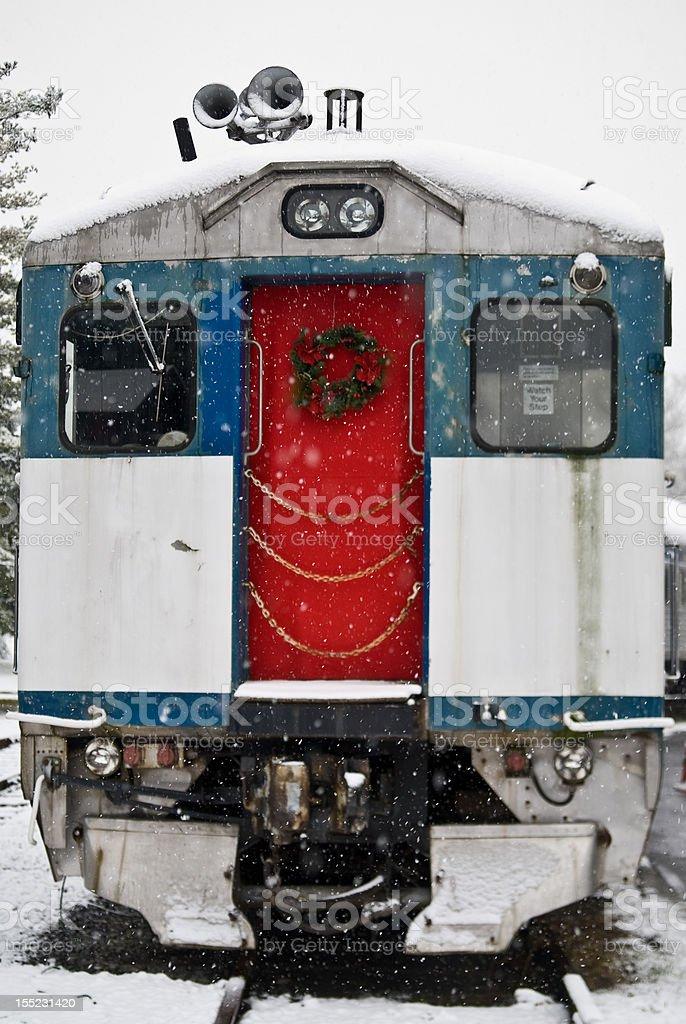 Red Door with wreath on train stock photo