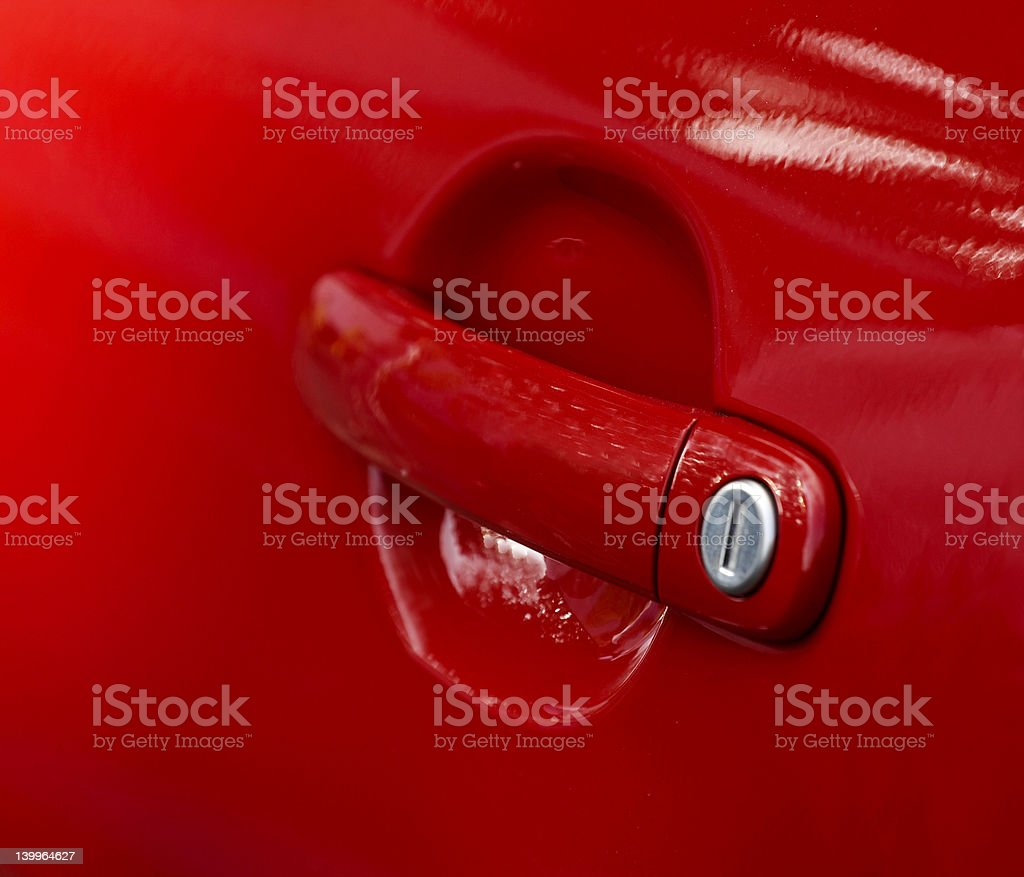 Red doorknob royalty-free stock photo