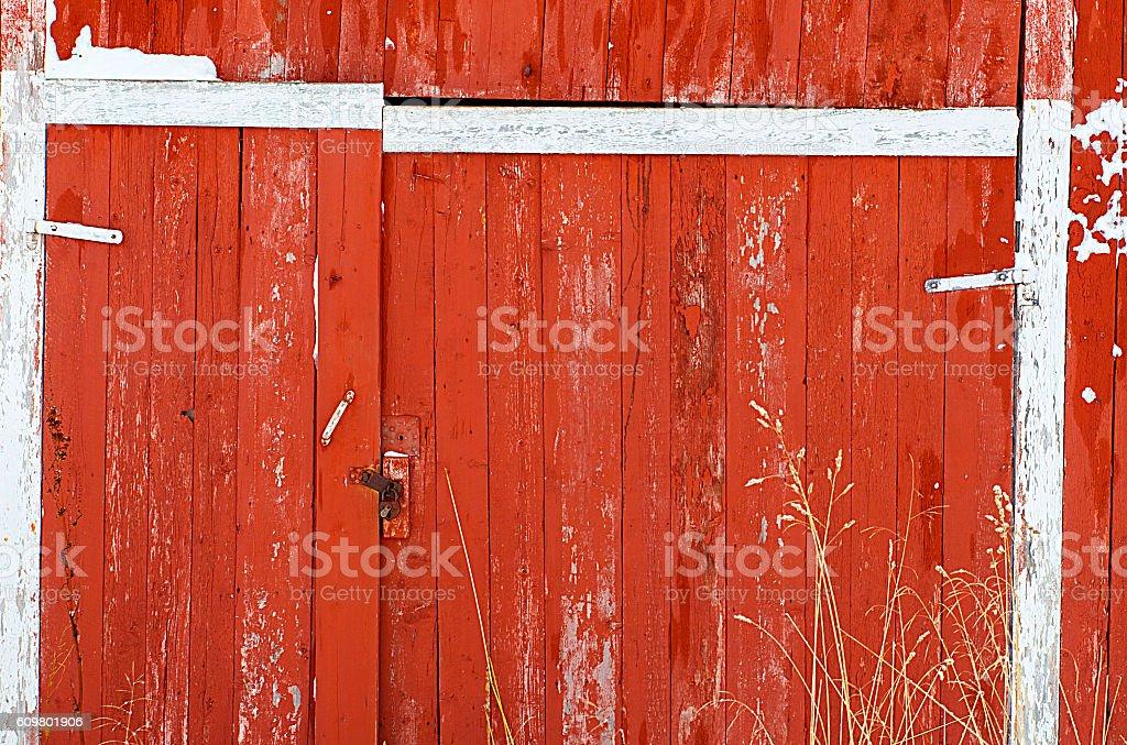 red door-lofoten stock photo