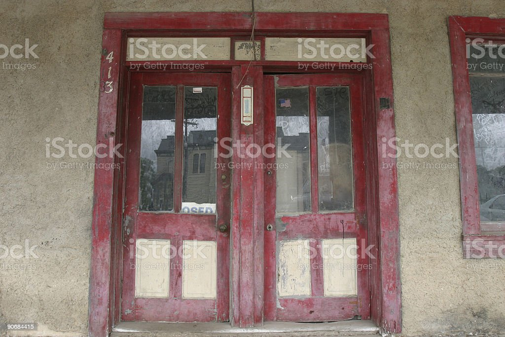 Red Doors in Blanco royalty-free stock photo