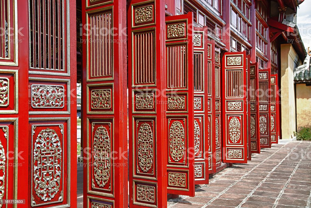 Red doors in Hue's Imperial City (Citadel), Vietnam stock photo