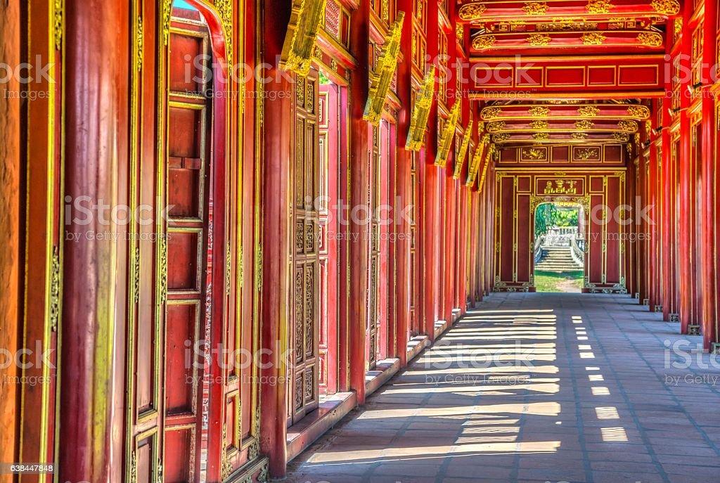 Red doors in Hue's Imperial City, Vietnam stock photo