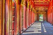 Red doors in Hue's Imperial City, Vietnam
