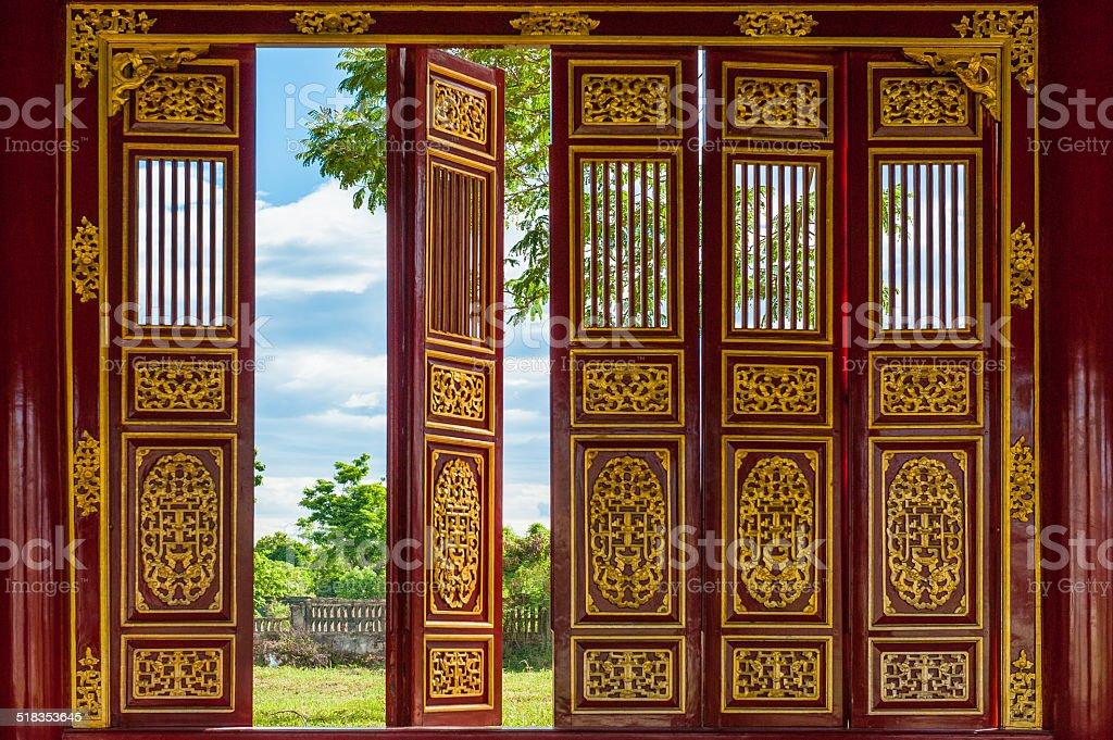 Red doors open stock photo