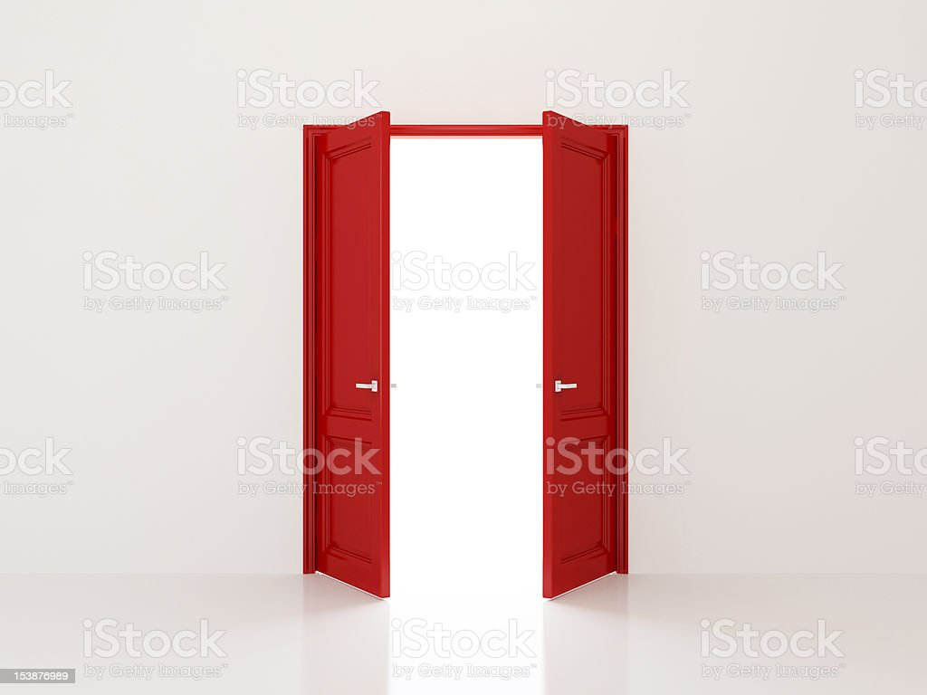 Red doors stock photo