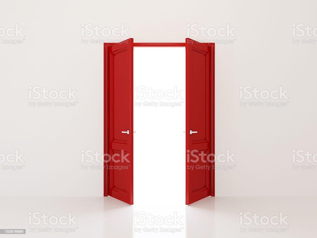 Red doors stock photo