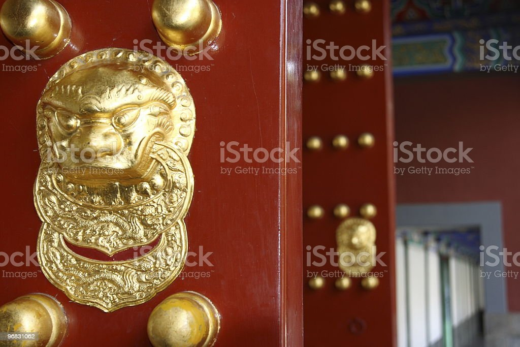 Red Doors with Gold China stock photo