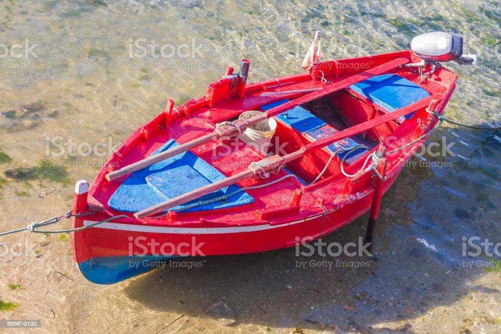 Red dorna boat stock photo