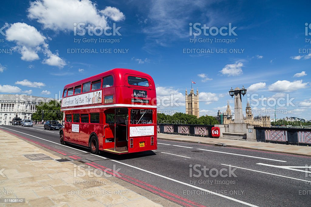 Red Double Decker Tour Bus in London stock photo