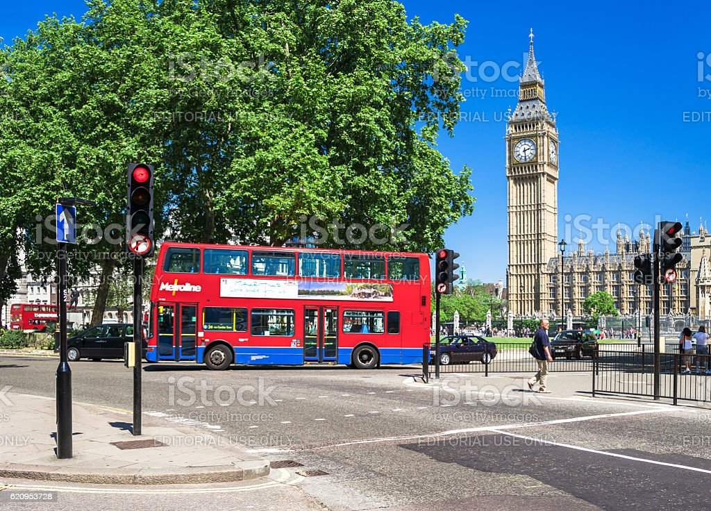 Red Double-decker bus in front of Big Ben. London, UK royalty-free stock photo