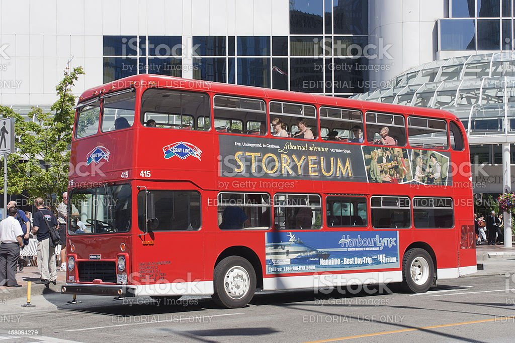 Red Double-Decker Bus in Vancouver royalty-free stock photo