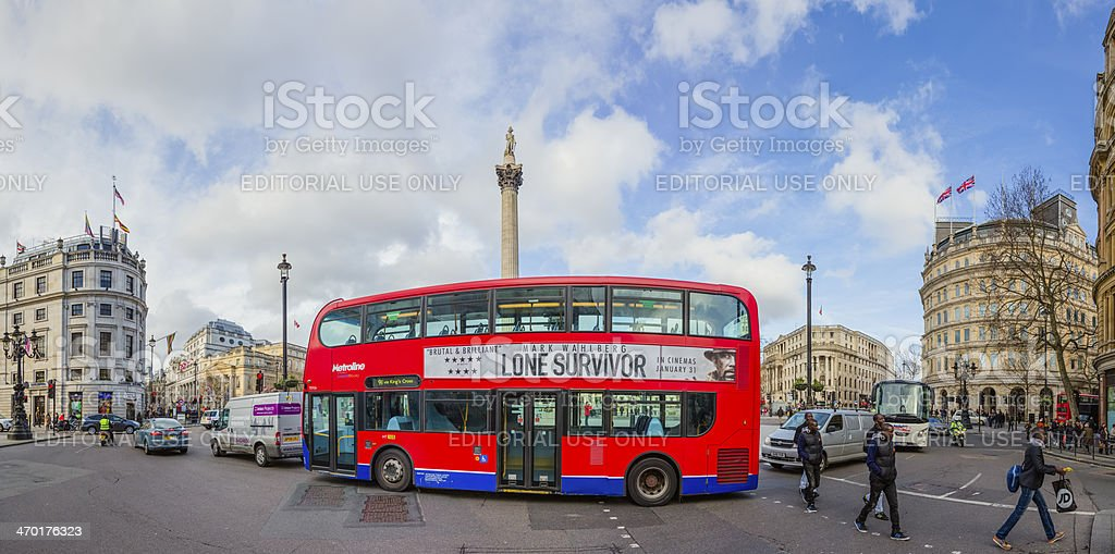 Red double-decker on Charing Cross of Trafalgar Square in London royalty-free stock photo