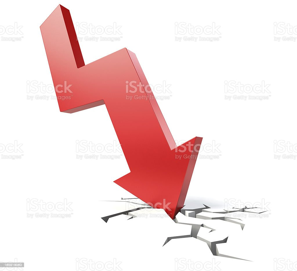 Red downward arrow stock photo