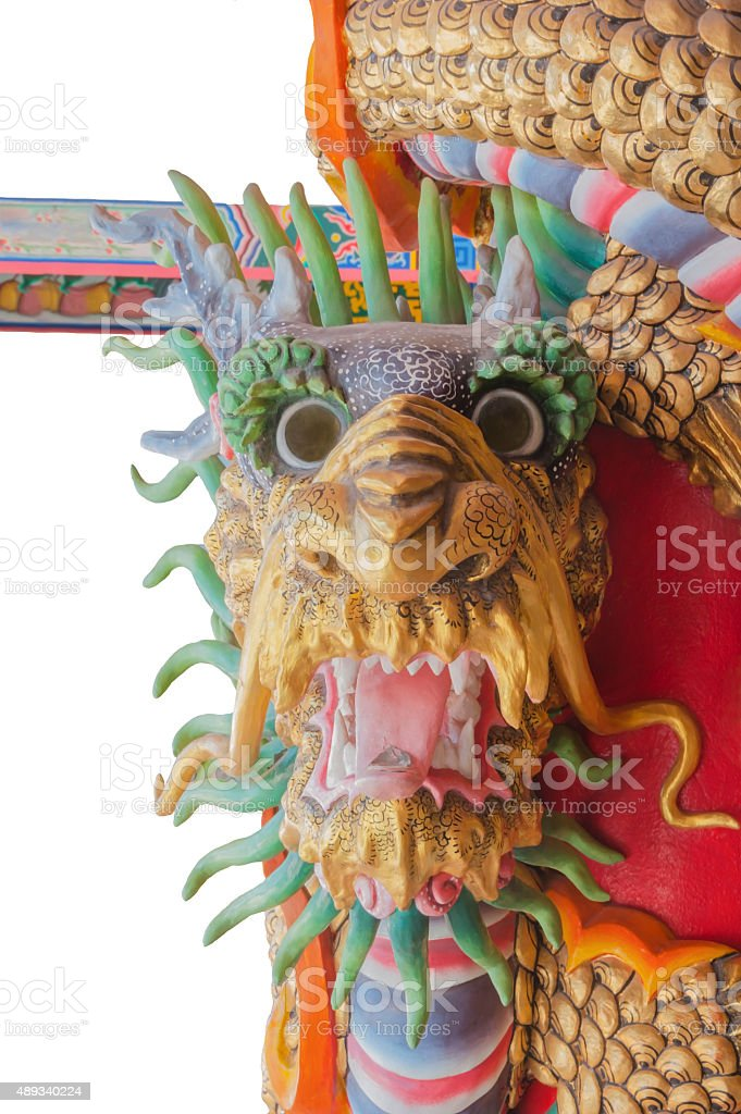 (Right) Red Dragon statue stock photo
