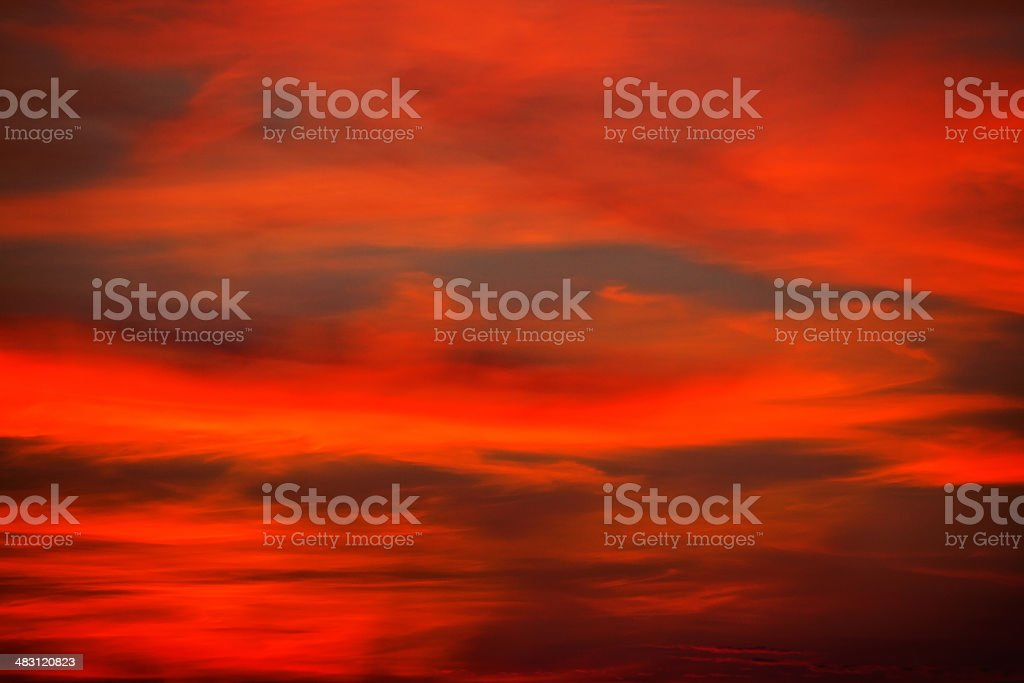 Red, dramatic sunset stock photo