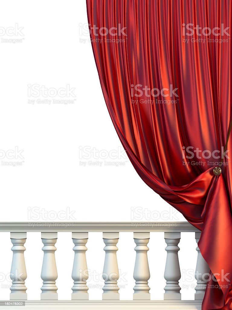Red Drapery and white Balusters royalty-free stock photo