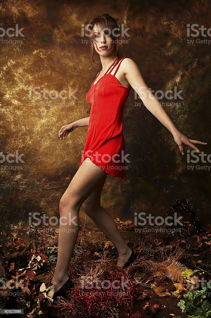 Red dress hopping royalty-free stock photo