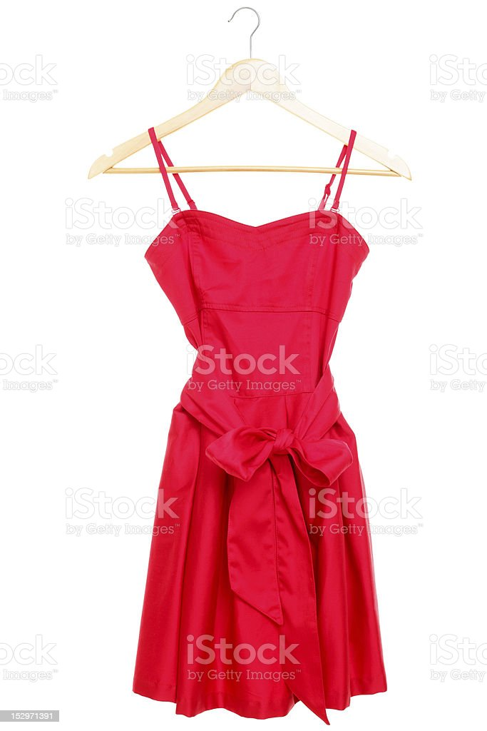 Red dress on hanger isolated stock photo
