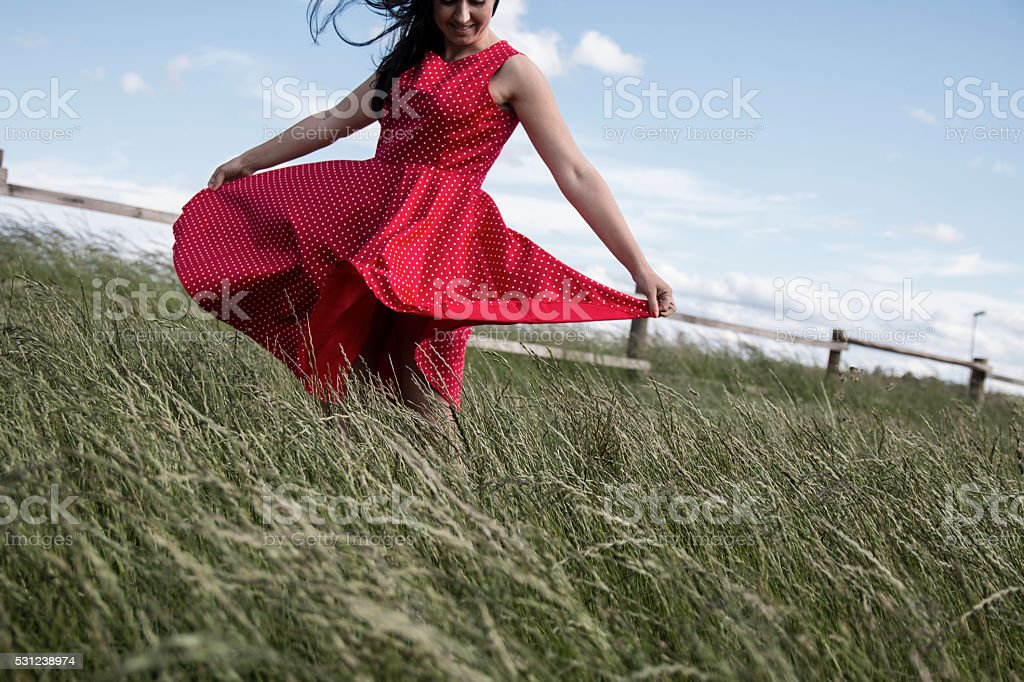 Red dress stock photo