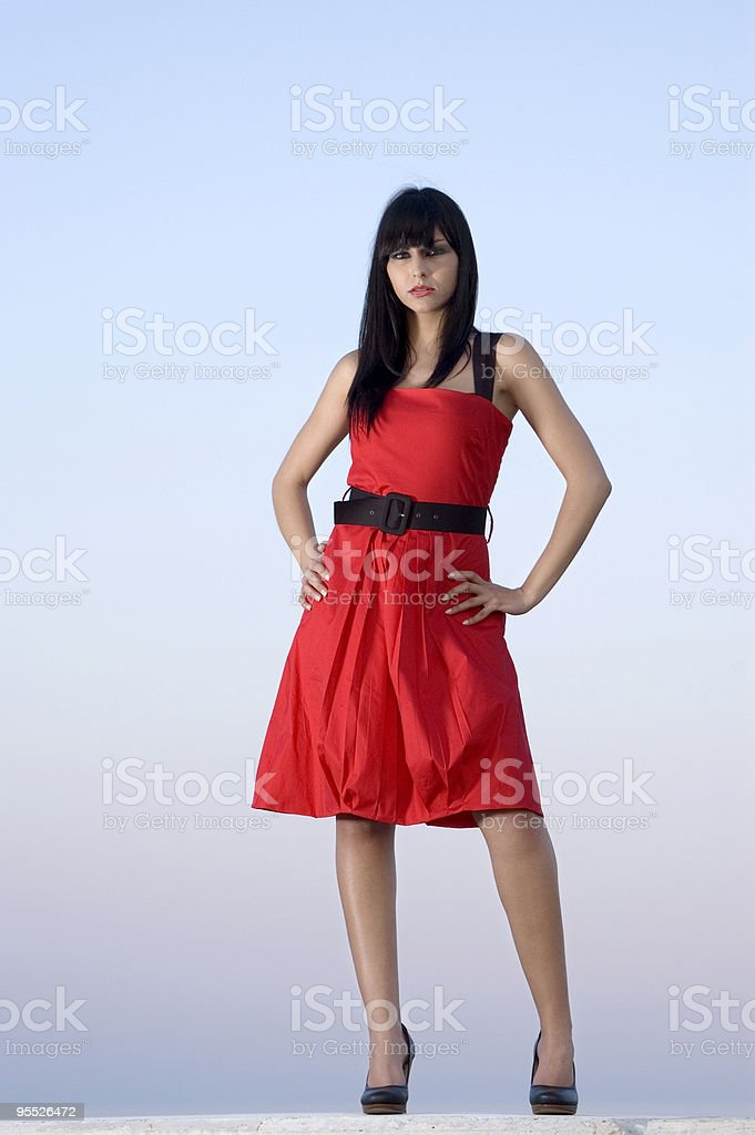 Red dress series royalty-free stock photo