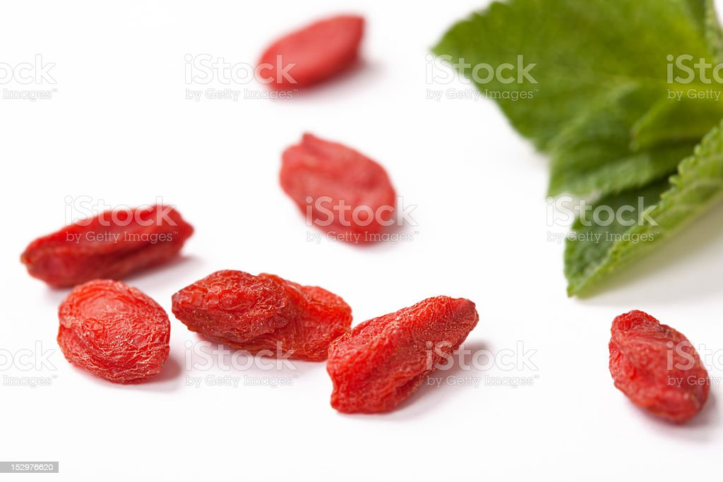 red dried goji berries close up stock photo