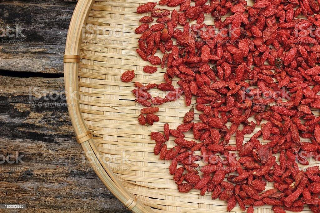 Red dried goji berries royalty-free stock photo