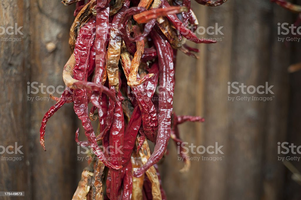 Red Dried Peppers in a bunch. Yunnan, China. royalty-free stock photo