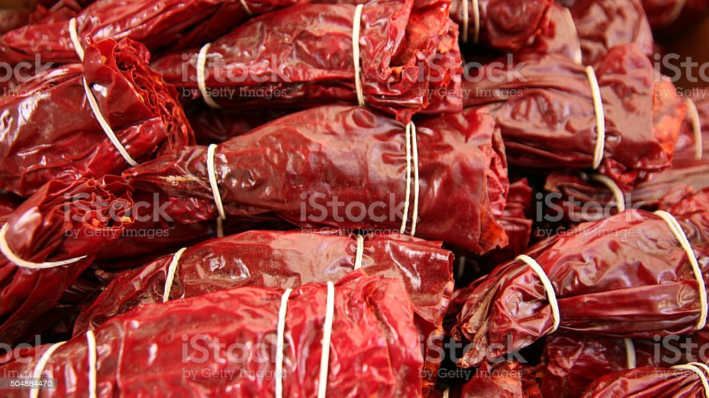 Red Dried Peppers stock photo