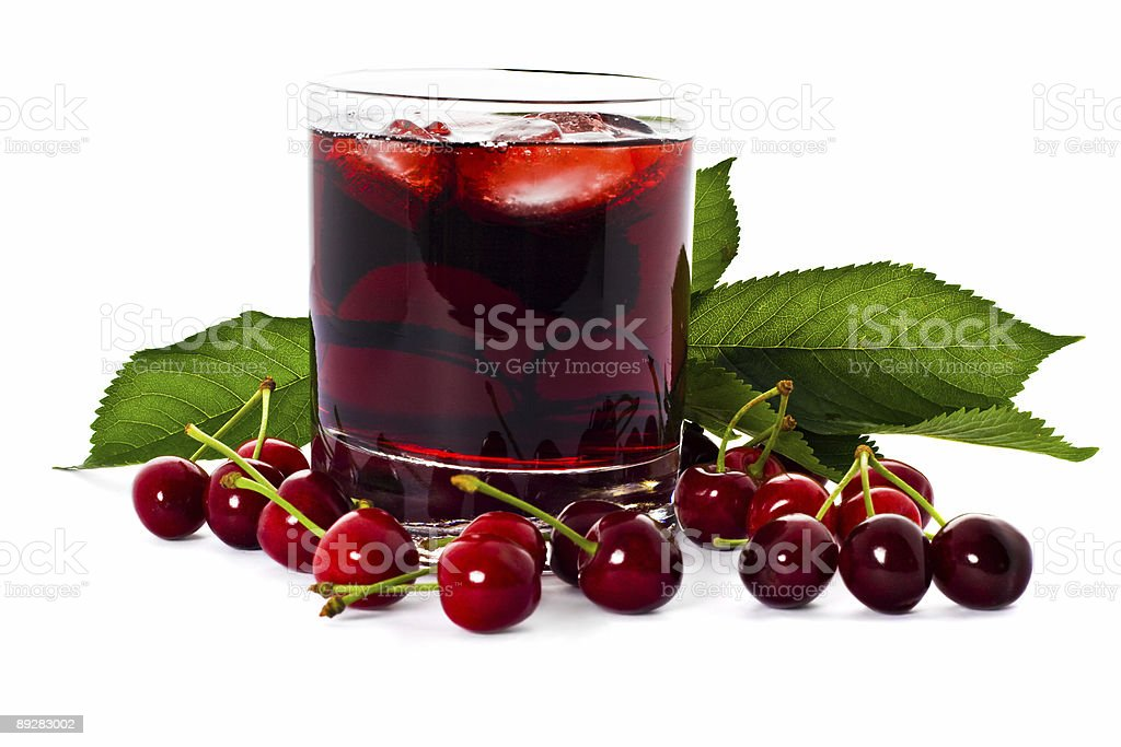 Red drink and cherry stock photo