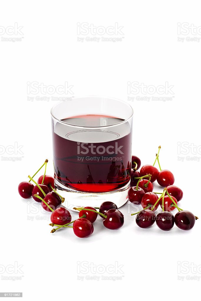 Red drink and cherry royalty-free stock photo