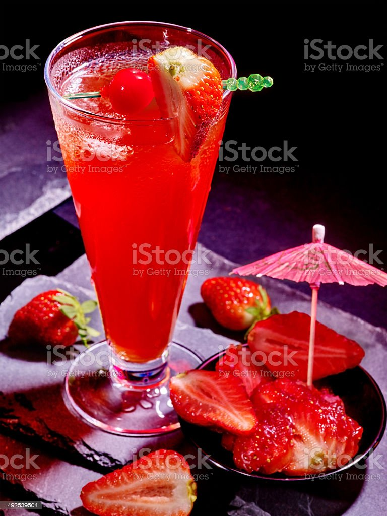 Red  drink  with cherry and pineapple  64 stock photo