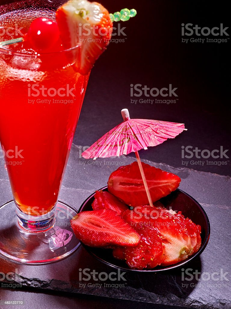Red  drink  with cherry and pineapple  80 stock photo