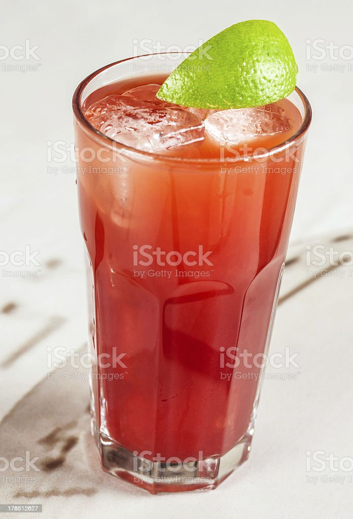 red drink with cranberry and grapefruit stock photo
