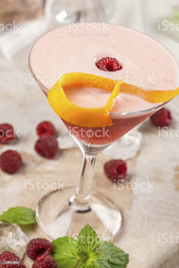 Red drink with raspberries and passion fruit royalty-free stock photo