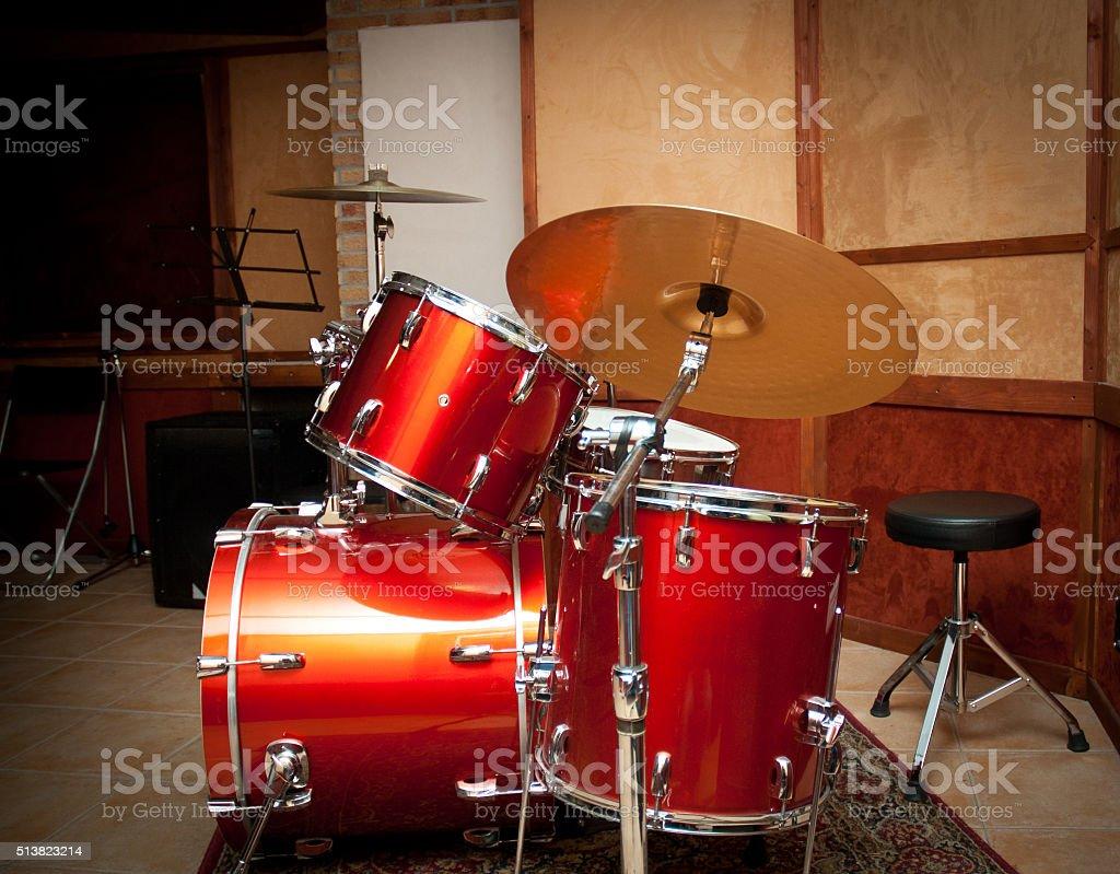 Red drum instrument in studio stock photo