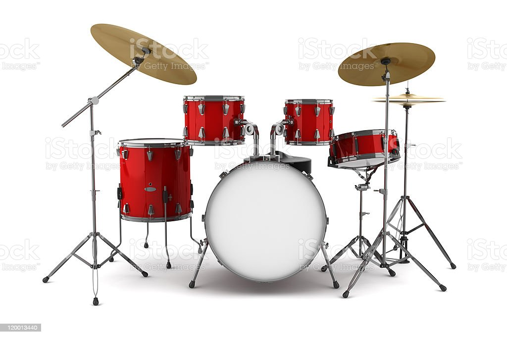 red drum kit isolated on white background stock photo