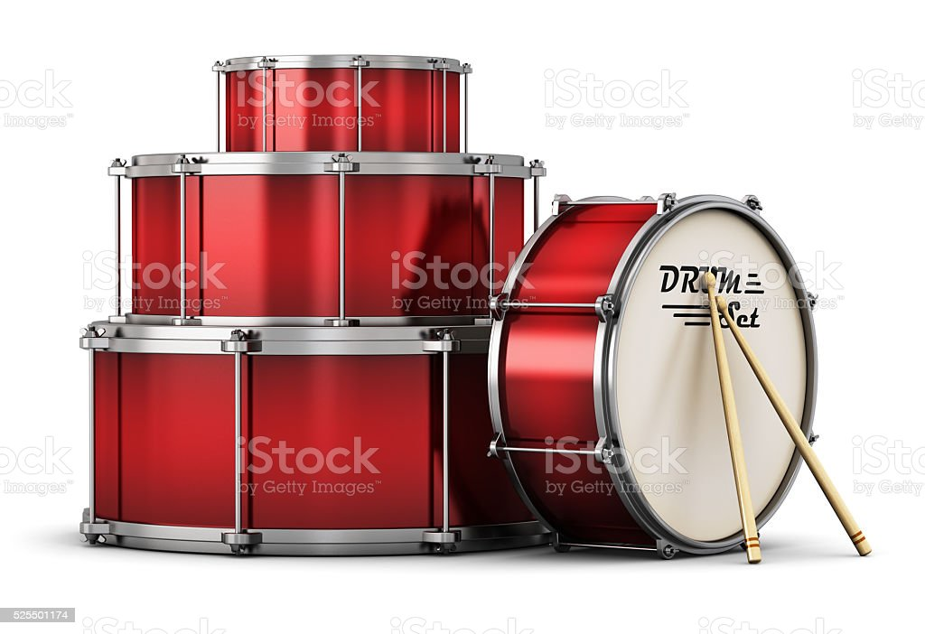 Red drum set with drumsticks stock photo
