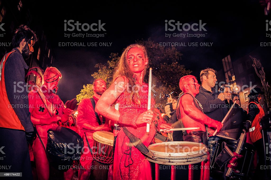 Red Drummers at the Samhuinn Fire Festival, Edinburgh stock photo