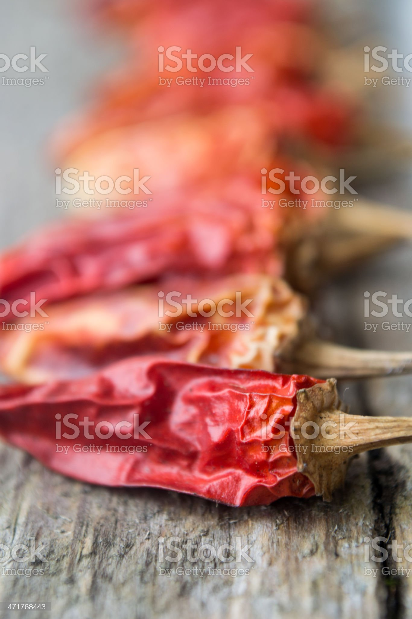 Red dry peppers on wood royalty-free stock photo