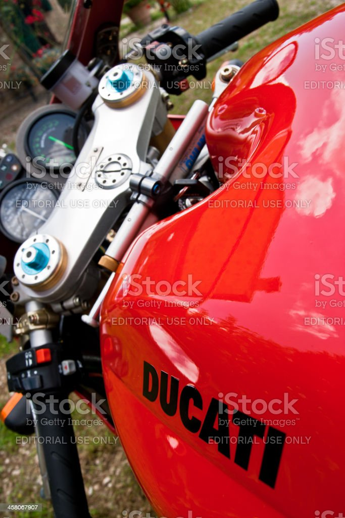 Red Ducati 748 Motorcycle stock photo