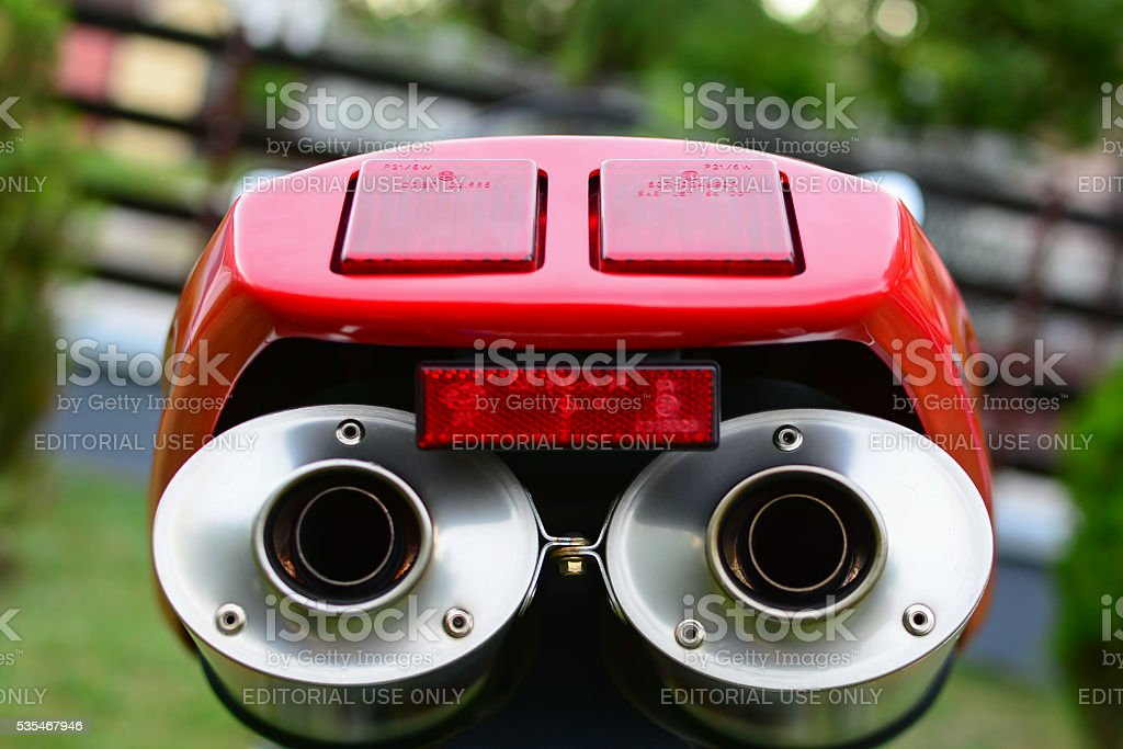 Red Ducati 996s motorcycle exhaust stock photo