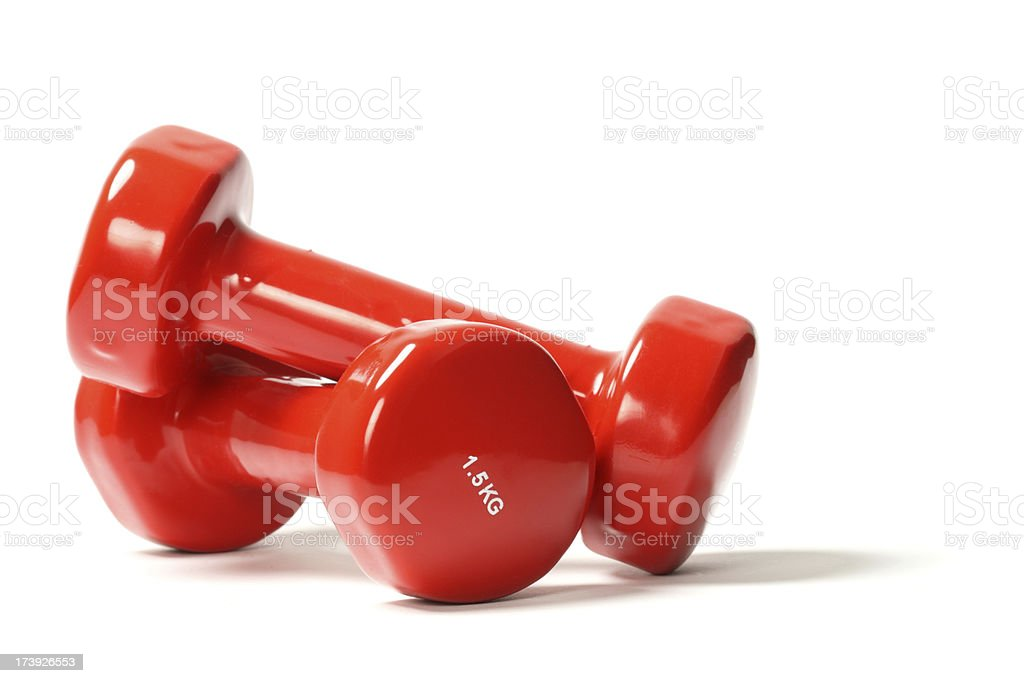 Red dumbbell weights stock photo